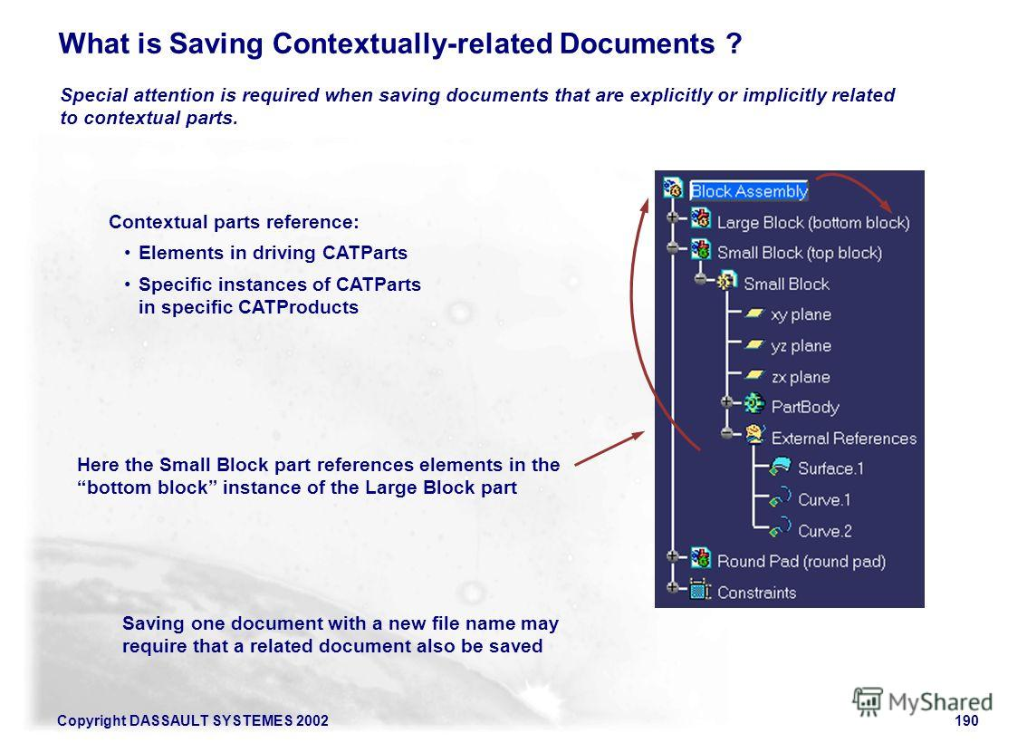 Copyright DASSAULT SYSTEMES 2002190 What is Saving Contextually-related Documents ? Special attention is required when saving documents that are explicitly or implicitly related to contextual parts. Here the Small Block part references elements in th