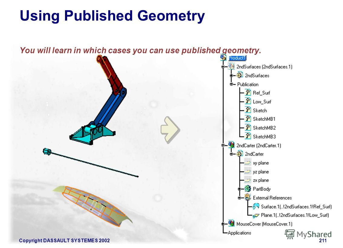 Copyright DASSAULT SYSTEMES 2002211 Using Published Geometry You will learn in which cases you can use published geometry.