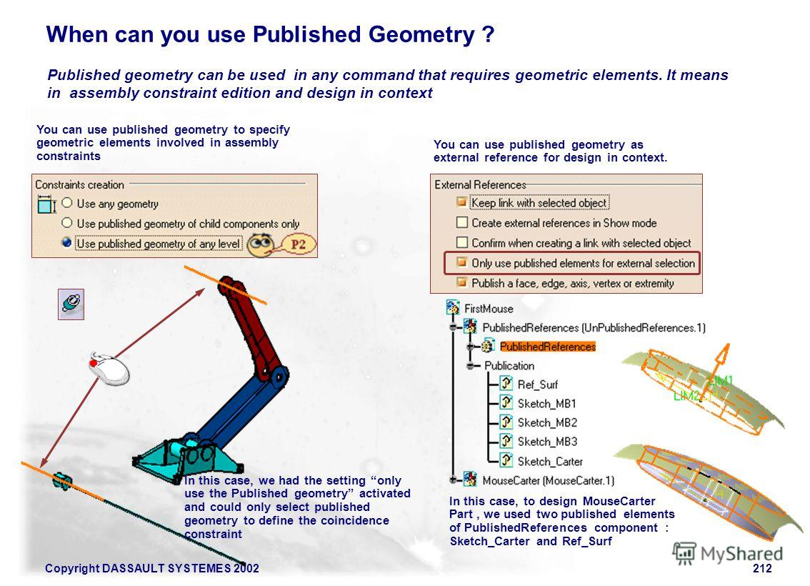 Copyright DASSAULT SYSTEMES 2002212 When can you use Published Geometry ? Published geometry can be used in any command that requires geometric elements. It means in assembly constraint edition and design in context You can use published geometry to