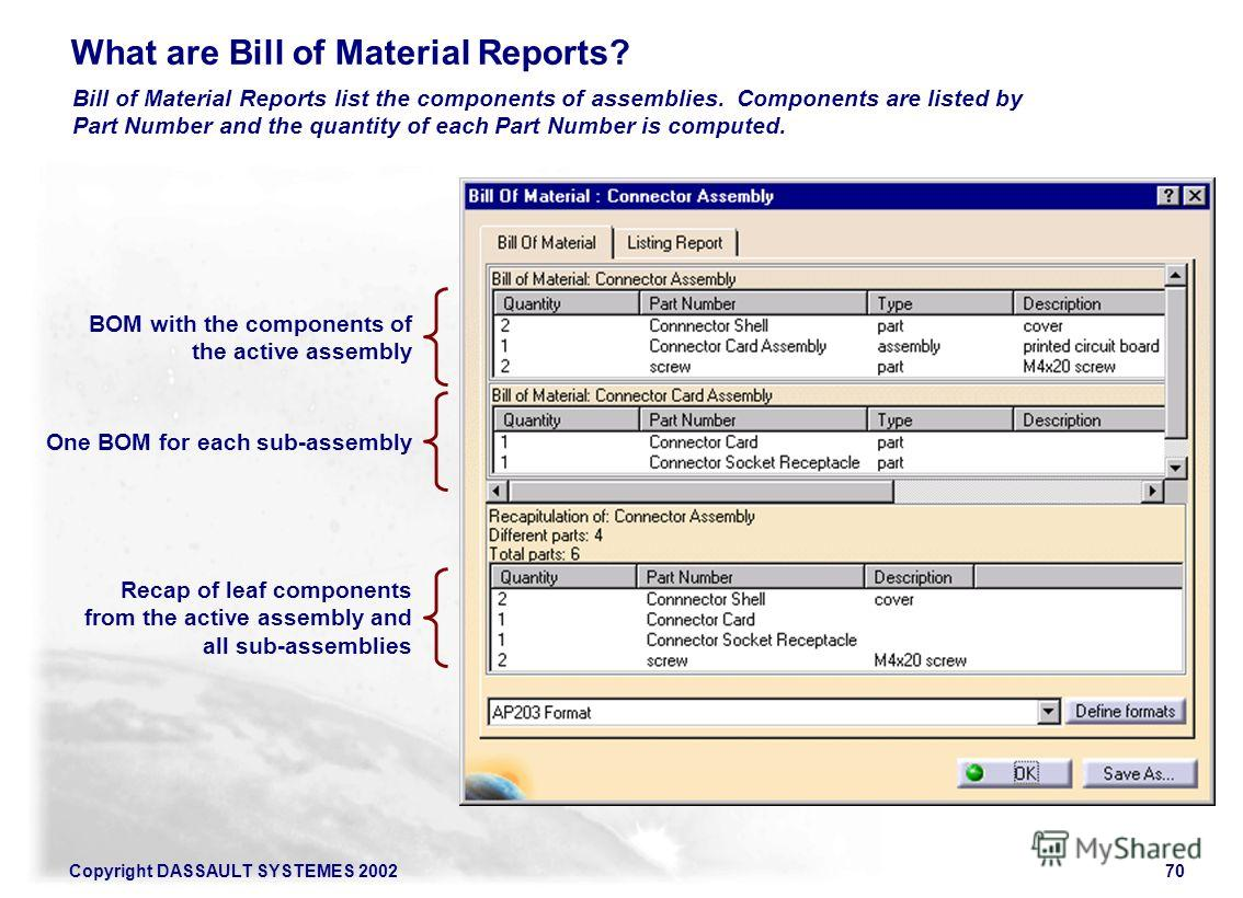 Copyright DASSAULT SYSTEMES 200270 What are Bill of Material Reports? Bill of Material Reports list the components of assemblies. Components are listed by Part Number and the quantity of each Part Number is computed. BOM with the components of the ac