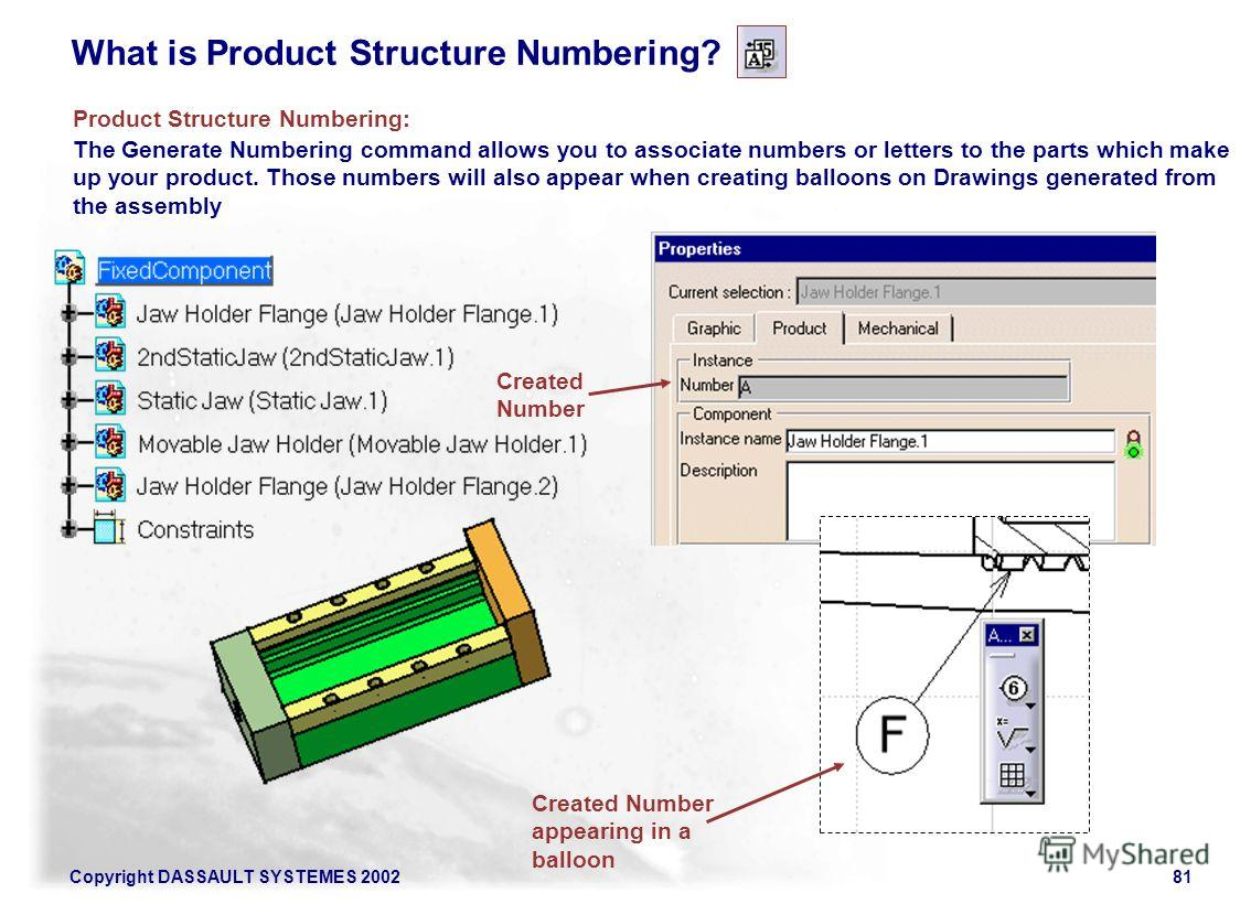 Copyright DASSAULT SYSTEMES 200281 What is Product Structure Numbering? The Generate Numbering command allows you to associate numbers or letters to the parts which make up your product. Those numbers will also appear when creating balloons on Drawin