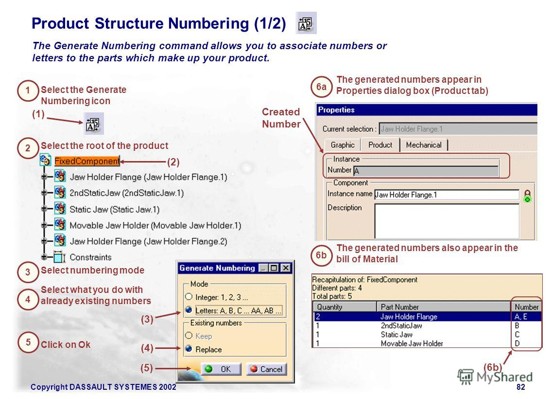Copyright DASSAULT SYSTEMES 200282 Product Structure Numbering (1/2) (1) 1 Select the Generate Numbering icon 2 Select the root of the product The Generate Numbering command allows you to associate numbers or letters to the parts which make up your p