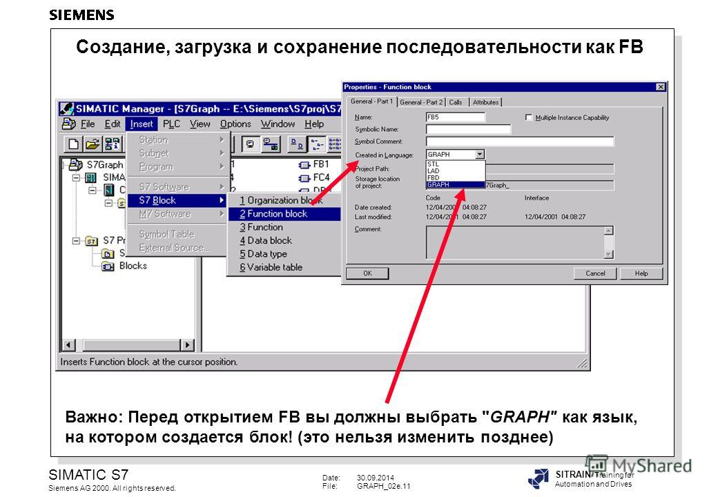 Date:30.09.2014 File:GRAPH_02e.11 SIMATIC S7 Siemens AG 2000. All rights reserved. SITRAIN Training for Automation and Drives Важно: Перед открытием FB вы должны выбрать