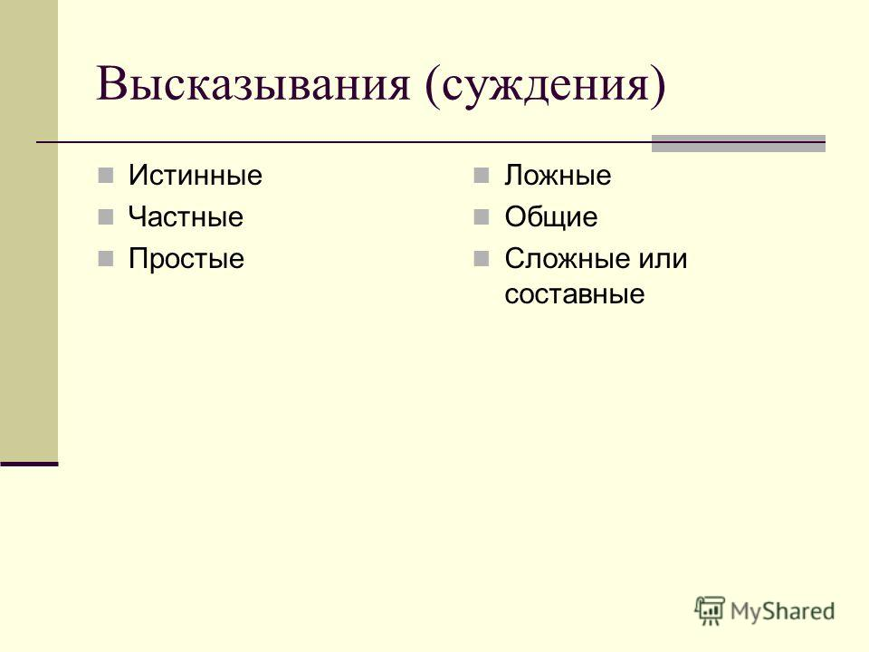 Высказывания (суждения) Истинные Частные Простые Ложные Общие Сложные или составные