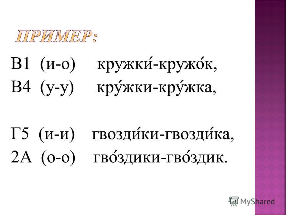 В1 (и-о) кружки ́ -кружок ́ к, В4 (у-у) кру ́ жки-кру ́́ жка, Г5 (и-и) квозди ́ ки-квозди ́ ка, 2А (о-о) кво ́ здики-кво ́ здик.