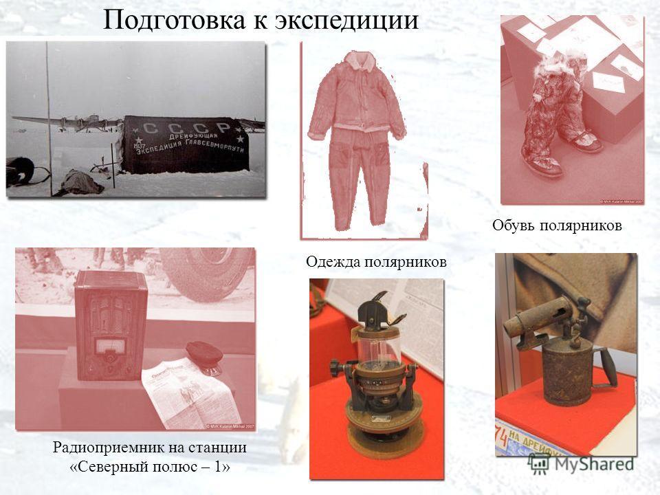 Подготовка к экспедиции Радиоприемник на станции «Северный полюс – 1» Одежда полярников Обувь полярников