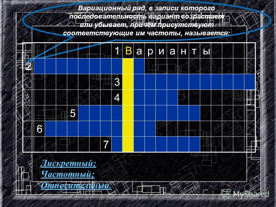 Вариационный ряд, в записи которого последовательность вариант возрастает или убывает, причём присутствуют соответствующие им частоты, называется: 1Варианты 2 3 4 5 6 7 Дискретный; Частотный; Относительный.