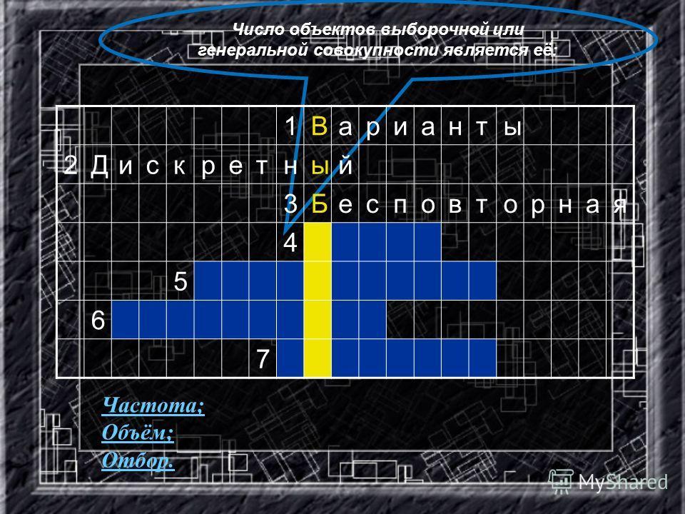Число объектов выборочной или генеральной совокупности является её: 1Варианты 2Дискретный 3Бесповторная 4 5 6 7 Частота; Объём; Отбор.