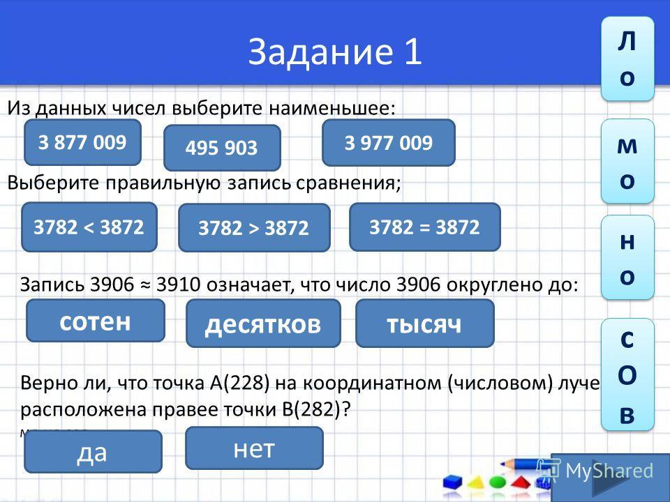 Задание 1 Из данных чисел выберите наименьшее: Выберите правильную запись сравнения; 3 877 009 495 903 3 977 009 3782 = 3872 3782 < 3872 3782 > 3872 Запись 3906 3910 означает, что число 3906 округлено до: Верно ли, что точка А(228) на координатном (ч