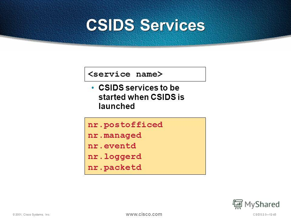 © 2001, Cisco Systems, Inc. www.cisco.com CSIDS 2.012-45 CSIDS Services nr.postofficed nr.managed nr.eventd nr.loggerd nr.packetd CSIDS services to be started when CSIDS is launched