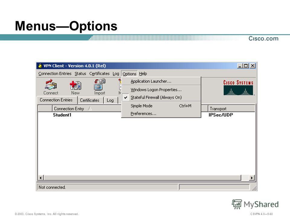 © 2003, Cisco Systems, Inc. All rights reserved. CSVPN 4.05-60 MenusOptions