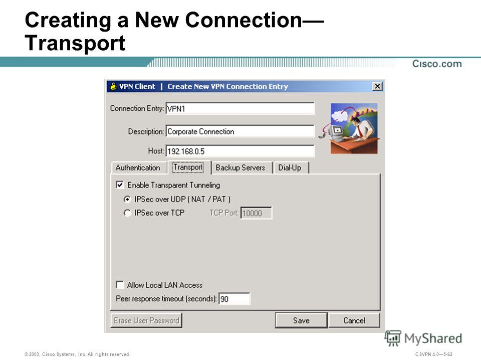 © 2003, Cisco Systems, Inc. All rights reserved. CSVPN 4.05-62 Creating a New Connection Transport