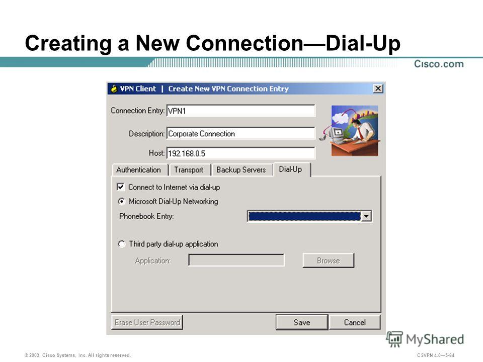© 2003, Cisco Systems, Inc. All rights reserved. CSVPN 4.05-64 Creating a New ConnectionDial-Up