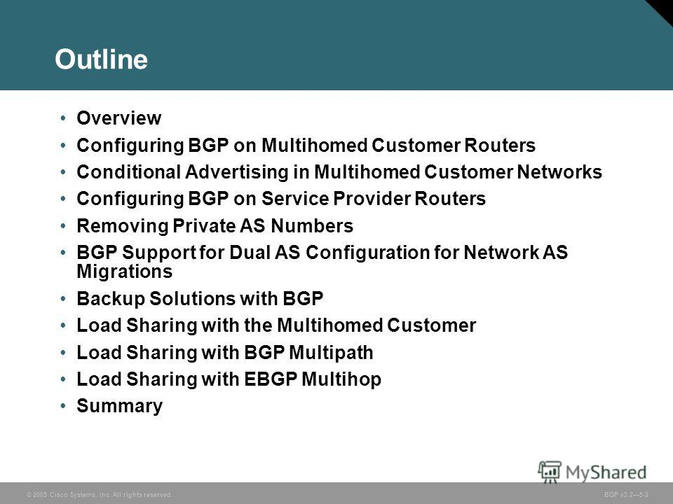 © 2005 Cisco Systems, Inc. All rights reserved. BGP v3.25-2 Outline Overview Configuring BGP on Multihomed Customer Routers Conditional Advertising in Multihomed Customer Networks Configuring BGP on Service Provider Routers Removing Private AS Number