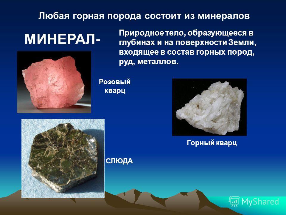 Любая горная порода состоит из минералов МИНЕРАЛ- Природное тело, образующееся в глубинах и на поверхности Земли, входящее в состав горных пород, руд, металлов. Горный кварц Розовый кварц СЛЮДА