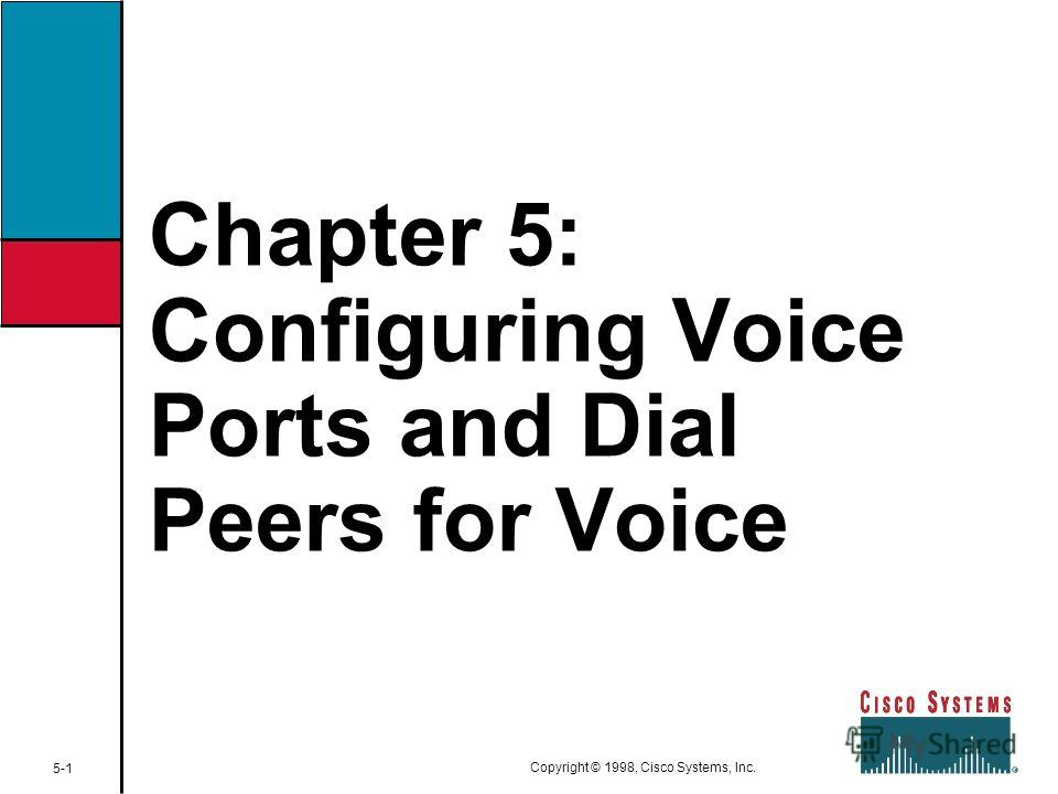 Chapter 5: Configuring Voice Ports and Dial Peers for Voice 5-1 Copyright © 1998, Cisco Systems, Inc.