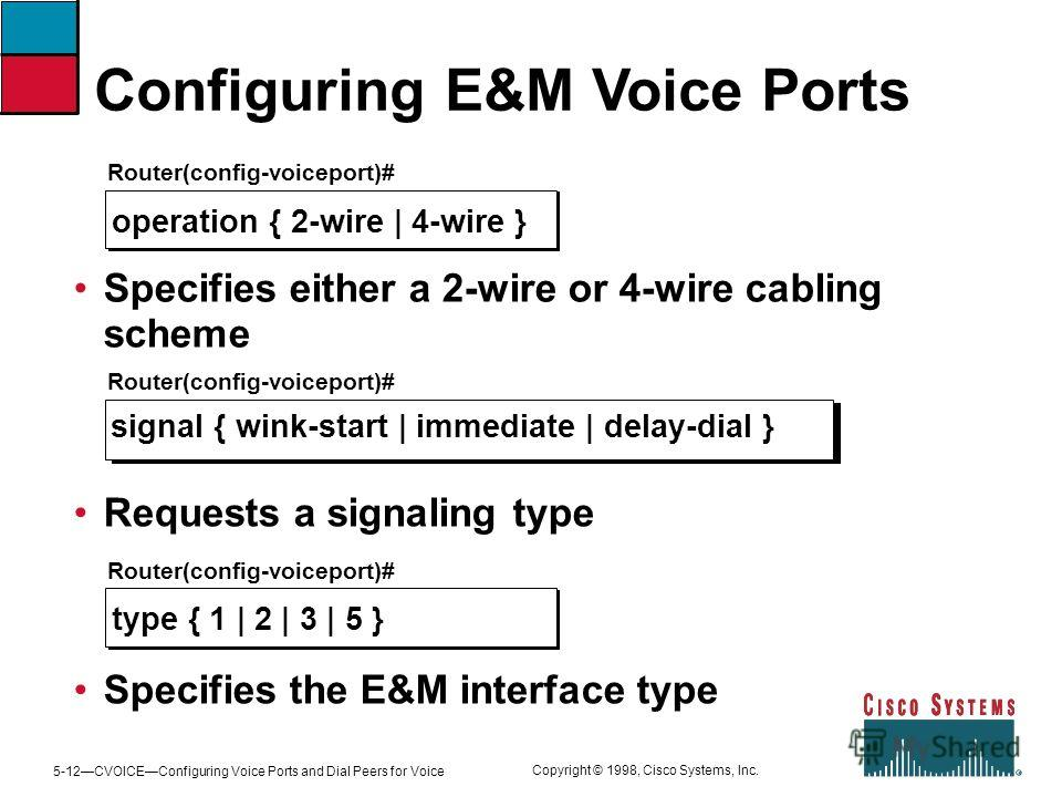 5-12CVOICEConfiguring Voice Ports and Dial Peers for Voice Copyright © 1998, Cisco Systems, Inc. Configuring E&M Voice Ports Router(config-voiceport)# operation { 2-wire | 4-wire } Specifies either a 2-wire or 4-wire cabling scheme Router(config-voic