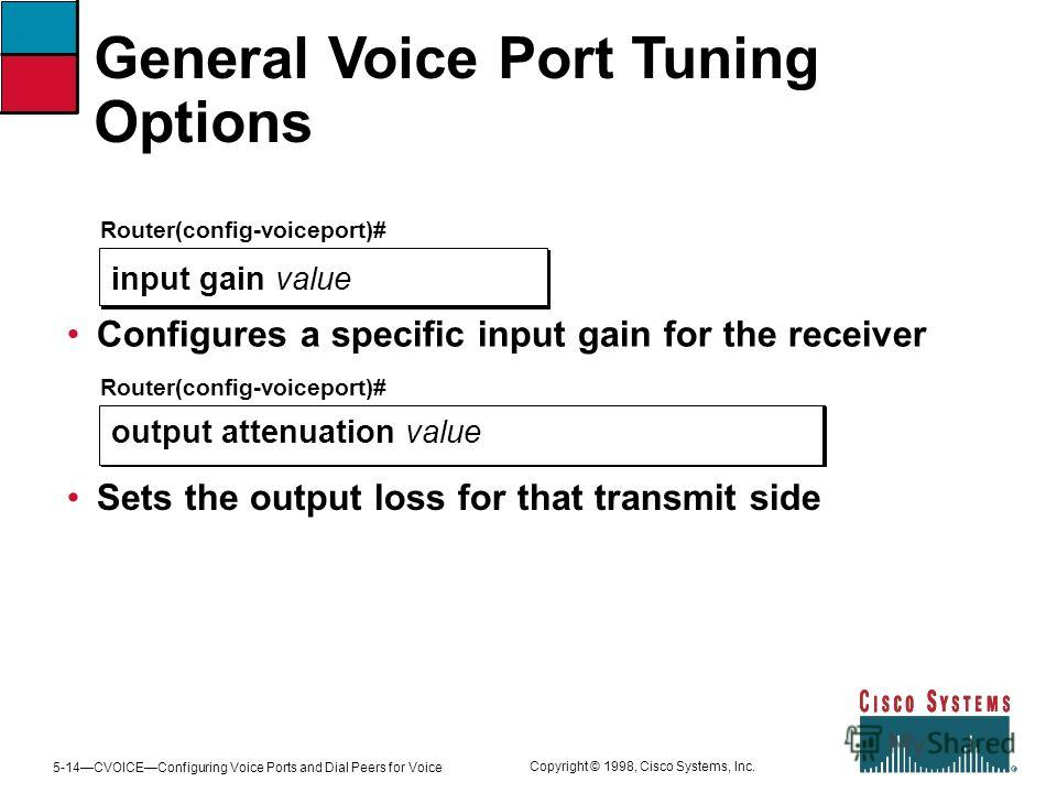 5-14CVOICEConfiguring Voice Ports and Dial Peers for Voice Copyright © 1998, Cisco Systems, Inc. General Voice Port Tuning Options Router(config-voiceport)# input gain value Configures a specific input gain for the receiver Router(config-voiceport)#