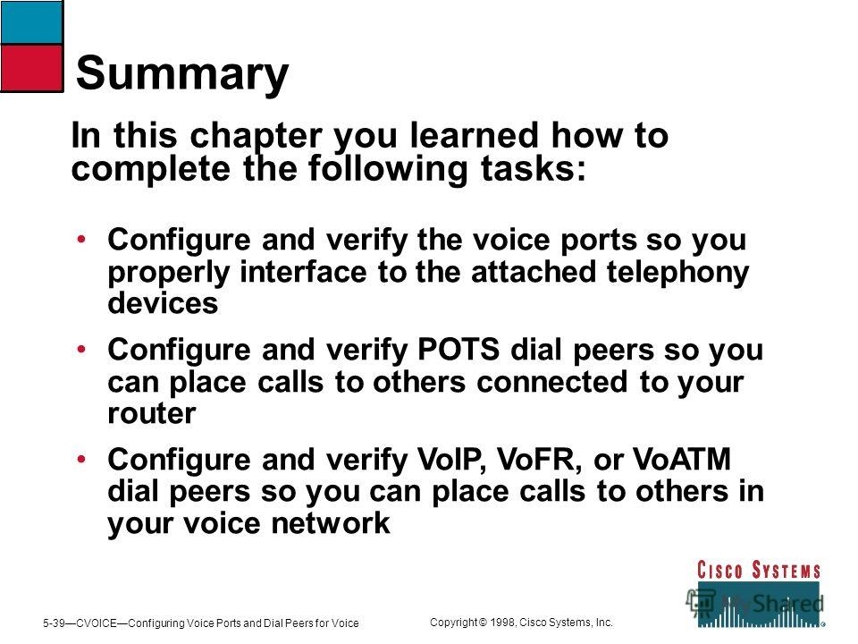 5-39CVOICEConfiguring Voice Ports and Dial Peers for Voice Copyright © 1998, Cisco Systems, Inc. Configure and verify the voice ports so you properly interface to the attached telephony devices Configure and verify POTS dial peers so you can place ca