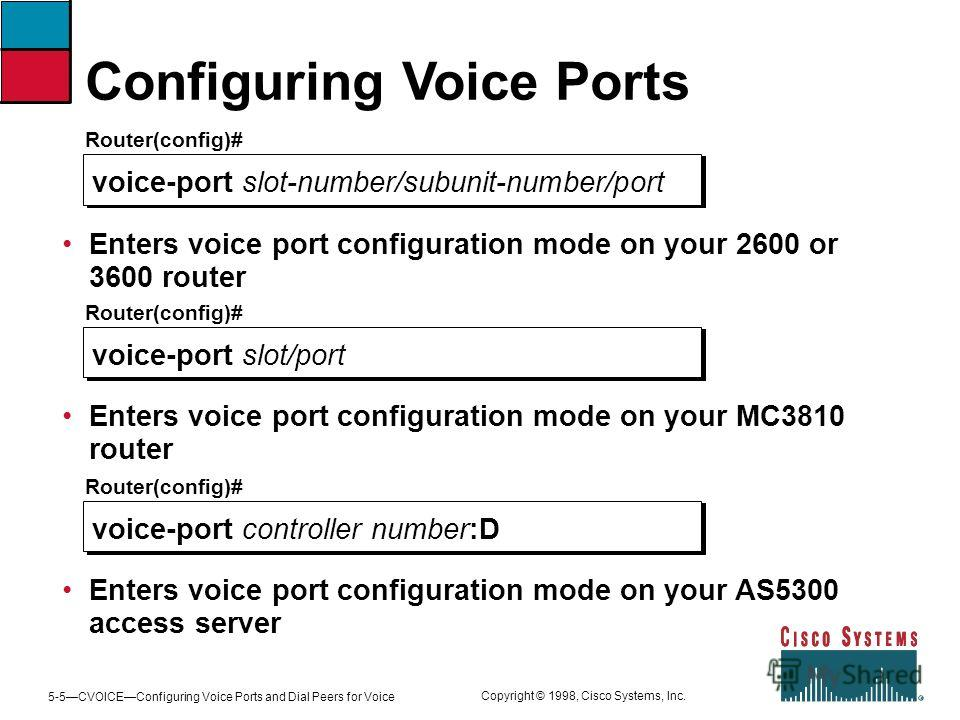 5-5CVOICEConfiguring Voice Ports and Dial Peers for Voice Copyright © 1998, Cisco Systems, Inc. Configuring Voice Ports Router(config)# voice-port slot-number/subunit-number/port Enters voice port configuration mode on your 2600 or 3600 router Router