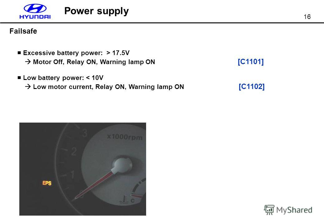 16 Power supply Failsafe Excessive battery power: > 17.5V Motor Off, Relay ON, Warning lamp ON [C1101] Low battery power: < 10V Low motor current, Relay ON, Warning lamp ON [C1102]