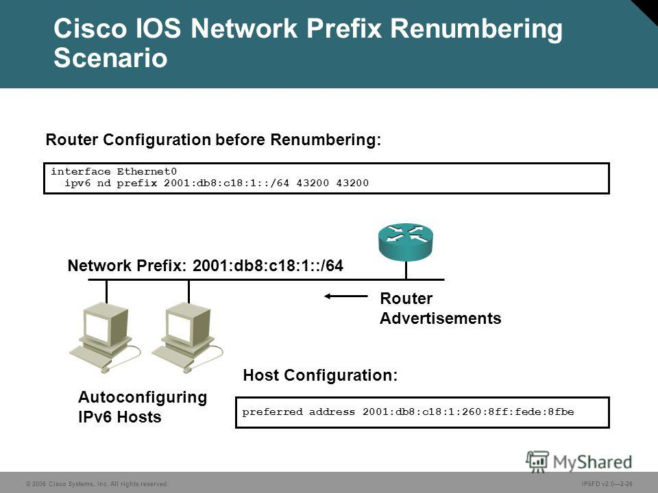 © 2006 Cisco Systems, Inc. All rights reserved.IP6FD v2.02-26 Network Prefix: 2001:db8:c18:1::/64 interface Ethernet0 ipv6 nd prefix 2001:db8:c18:1::/64 43200 43200 Host Configuration: Autoconfiguring IPv6 Hosts preferred address 2001:db8:c18:1:260:8