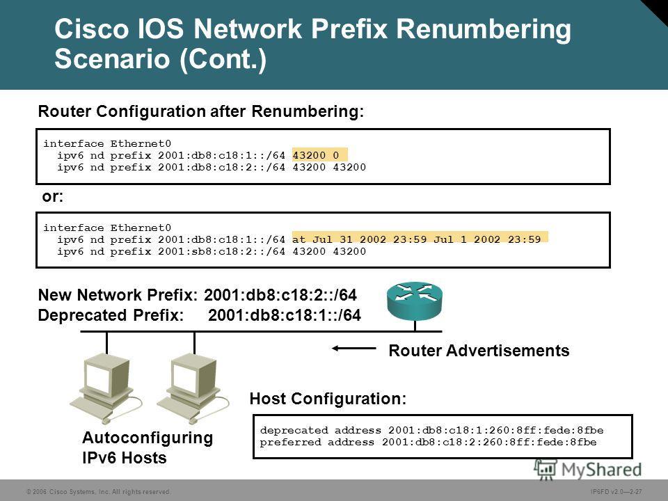 © 2006 Cisco Systems, Inc. All rights reserved.IP6FD v2.02-27 interface Ethernet0 ipv6 nd prefix 2001:db8:c18:1::/64 43200 0 ipv6 nd prefix 2001:db8:c18:2::/64 43200 43200 New Network Prefix: 2001:db8:c18:2::/64 Deprecated Prefix: 2001:db8:c18:1::/64