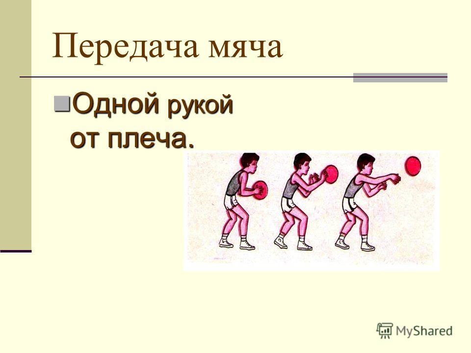 Передача мяча Одной рукой от плеча. Одной рукой от плеча.
