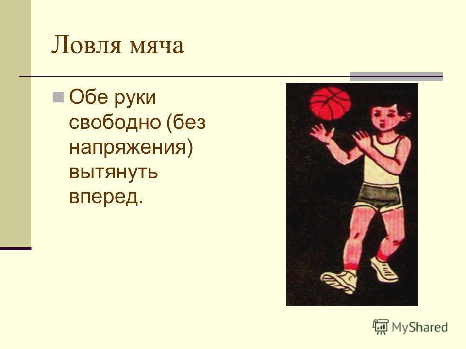 Ловля мяча Обе руки свободно (без напряжения) вытянуть вперед.