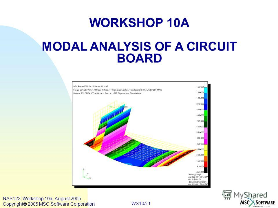 WS10a-1 WORKSHOP 10A MODAL ANALYSIS OF A CIRCUIT BOARD NAS122, Workshop 10a, August 2005 Copyright 2005 MSC.Software Corporation