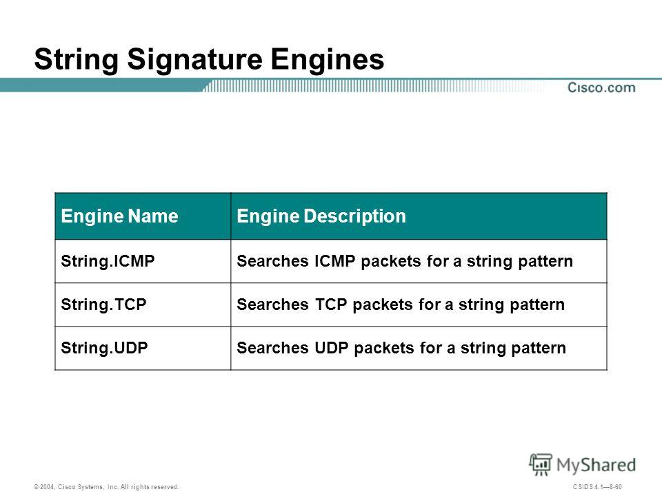 © 2004, Cisco Systems, Inc. All rights reserved. CSIDS 4.18-60 String Signature Engines Engine NameEngine Description String.ICMPSearches ICMP packets for a string pattern String.TCPSearches TCP packets for a string pattern String.UDPSearches UDP pac