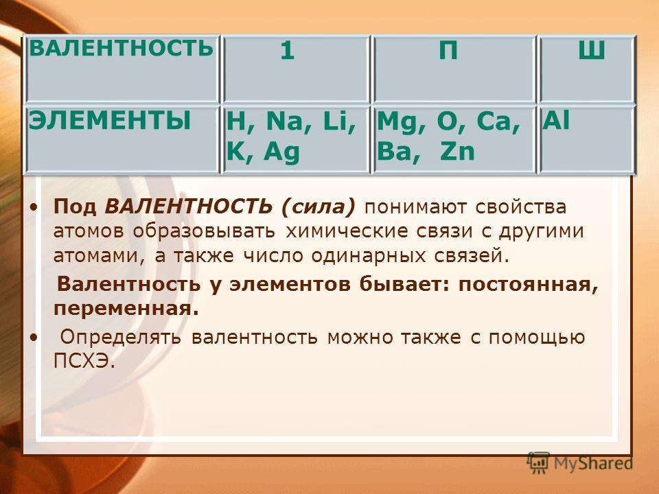 Под ВАЛЕНТНОСТЬ (сила) понимают свойства атомов образовывать химические связи с другими атомами, а также число одинарных связей. Валентность у элементов бывает: постоянная, переменная. Определять валентность можно также с помощью ПСХЭ.