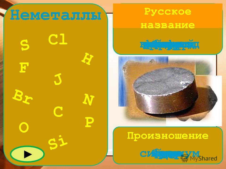 Русское название Произношение Неметаллы S Cl Br C Si J N P O F H cерауглеродводородкремний кислород фосфор бром хлор фтор йод азот бром йод хлор фтор эсэнашо цепи силициум
