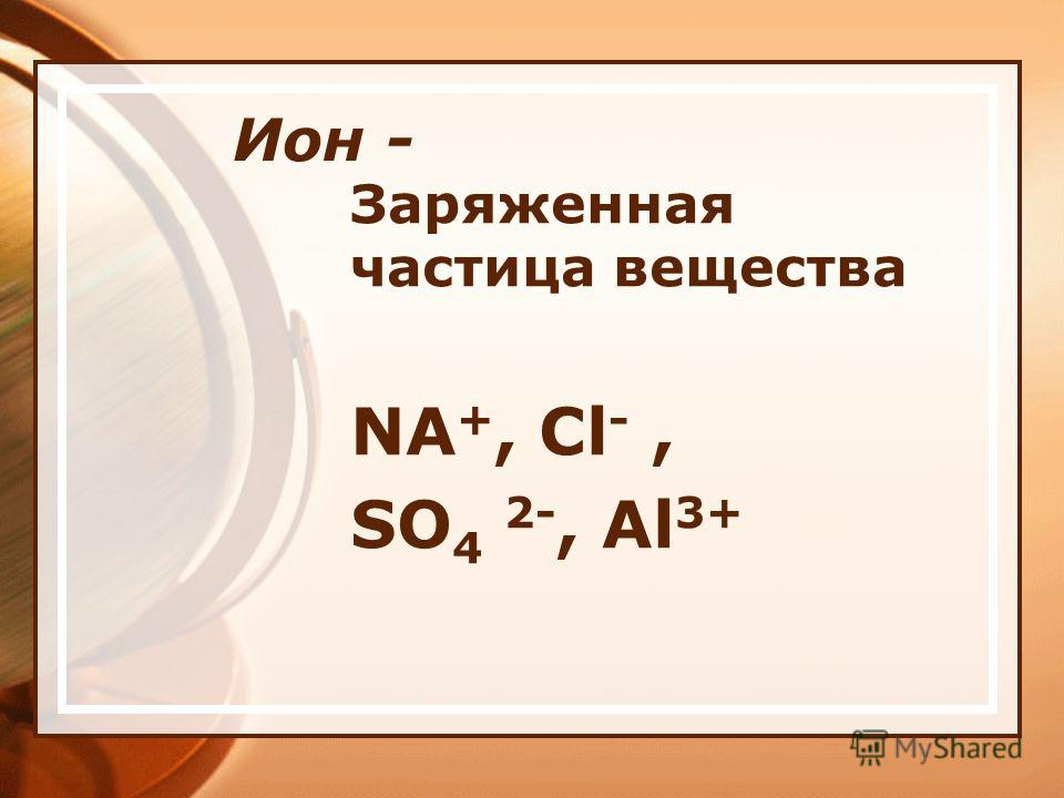Ион - Заряженная частица вещества NA +, Cl -, SO 4 2-, Al 3+
