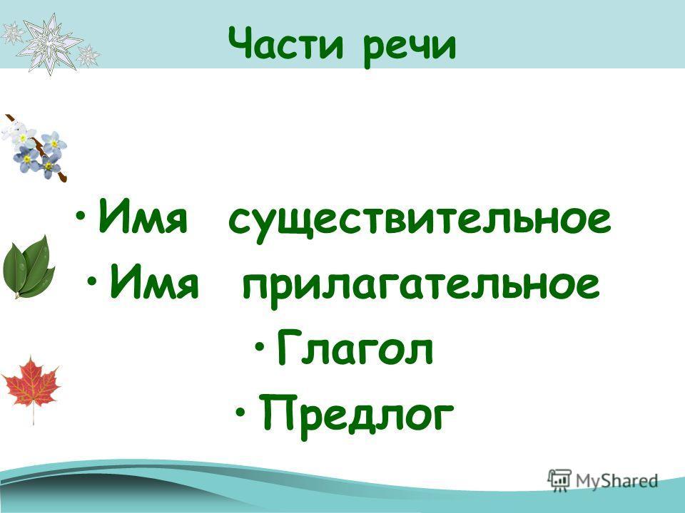 Части речи Имя существительное Имя прилагательное Глагол Предлог