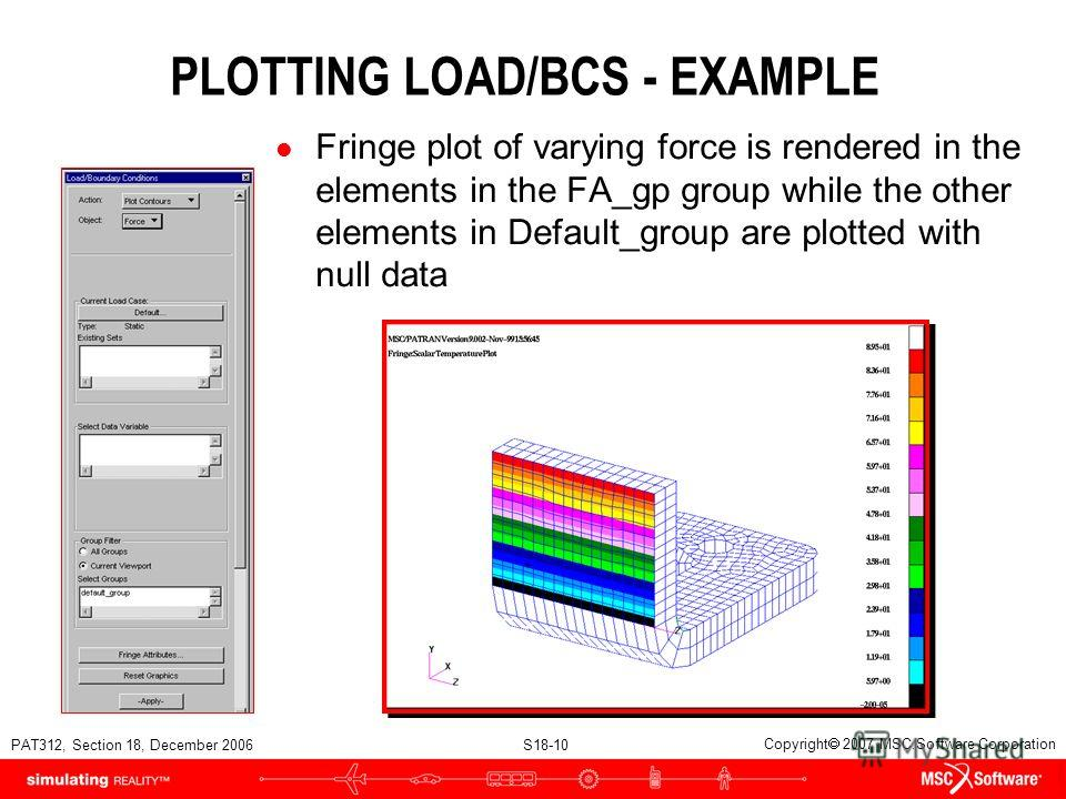 PAT312, Section 18, December 2006 S18-10 Copyright 2007 MSC.Software Corporation PLOTTING LOAD/BCS - EXAMPLE l Fringe plot of varying force is rendered in the elements in the FA_gp group while the other elements in Default_group are plotted with null