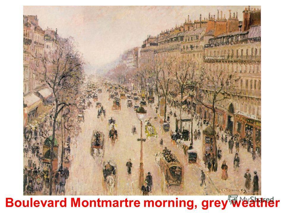 Avenue de lOpera Place du Theatre Francais in a misty weather