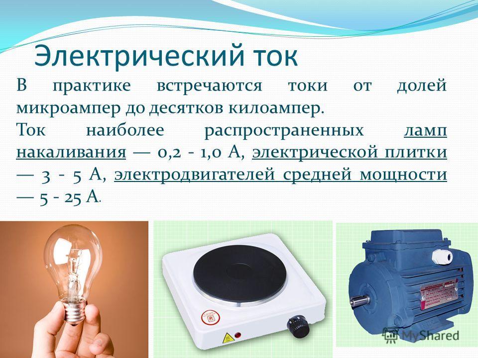 Электрический ток В практике встречаются токи от долей микроампер до десятков килоампер. Ток наиболее распространенных ламп накаливания 0,2 - 1,0 А, электрической плитки 3 - 5 А, электродвигателей средней мощности 5 - 25 А.