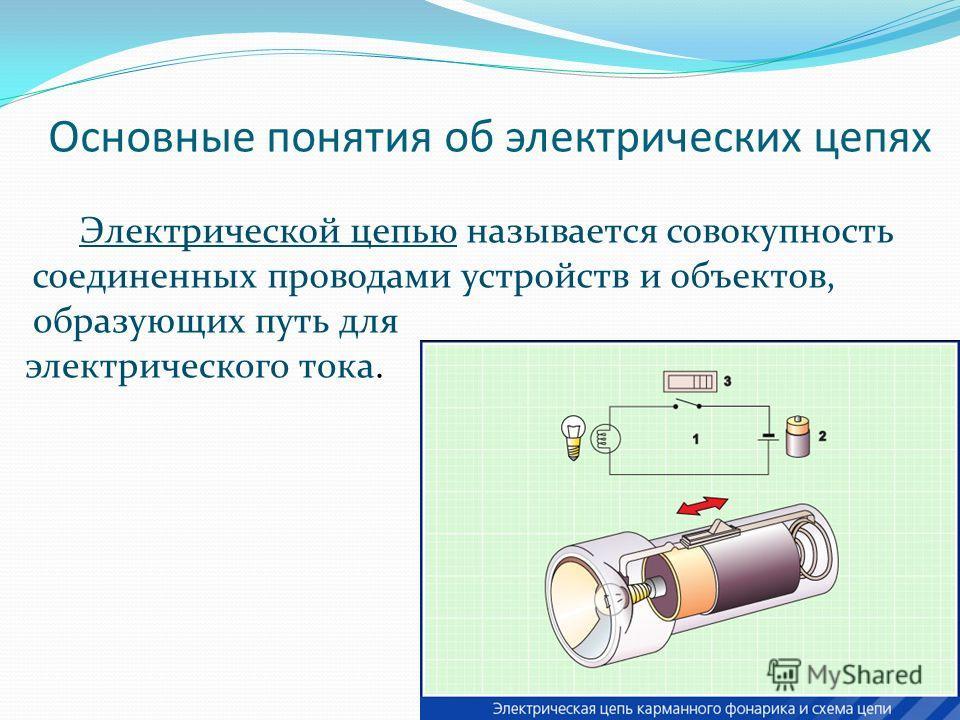 Основные понятия об электрических цепях Электрической цепью называется совокупность соединенных проводами устройств и объектов, образующих путь для электрического тока.