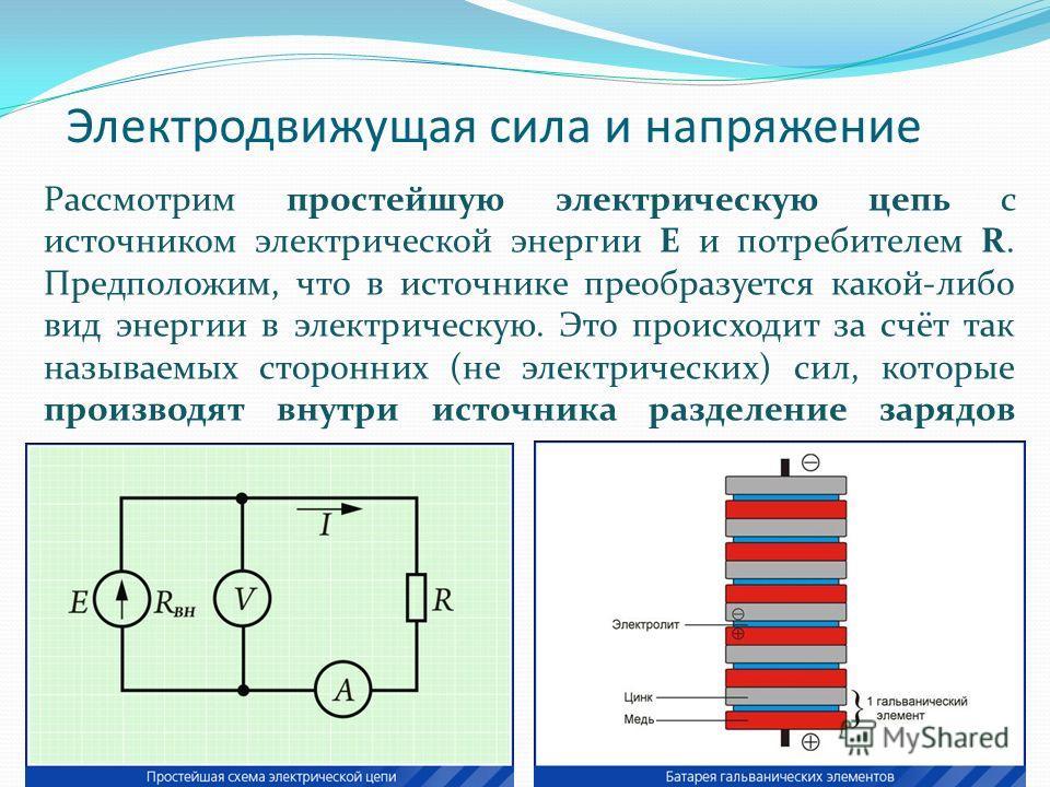 Электродвижущая сила и напряжение Рассмотрим простейшую электрическую цепь с источником электрической энергии Е и потребителем R. Предположим, что в источнике преобразуется какой-либо вид энергии в электрическую. Это происходит за счёт так называемых