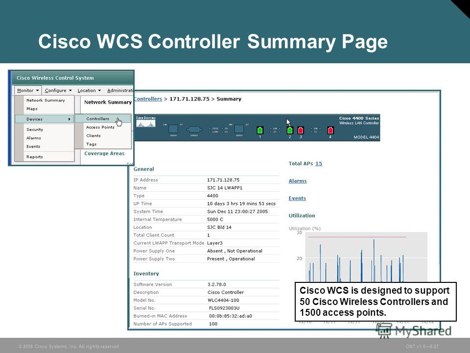 © 2006 Cisco Systems, Inc. All rights reserved.ONT v1.06-27 Cisco WCS Controller Summary Page Cisco WCS is designed to support 50 Cisco Wireless Controllers and 1500 access points.
