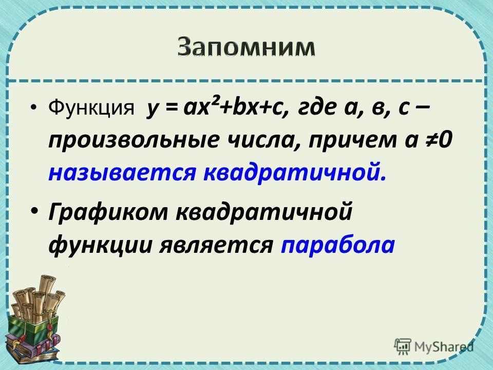 Функция у = ax²+bx+c, где а, в, с – произвольные числа, причем а 0 называется квадратичной. Графиком квадратичной функции является парабола