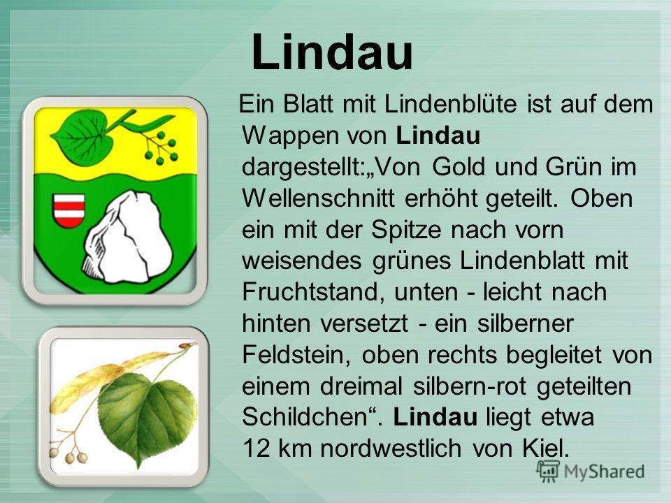 Lindau Ein Blatt mit Lindenblüte ist auf dem Wappen von Lindau dargestellt:Von Gold und Grün im Wellenschnitt erhöht geteilt. Oben ein mit der Spitze nach vorn weisendes grünes Lindenblatt mit Fruchtstand, unten - leicht nach hinten versetzt - ein si