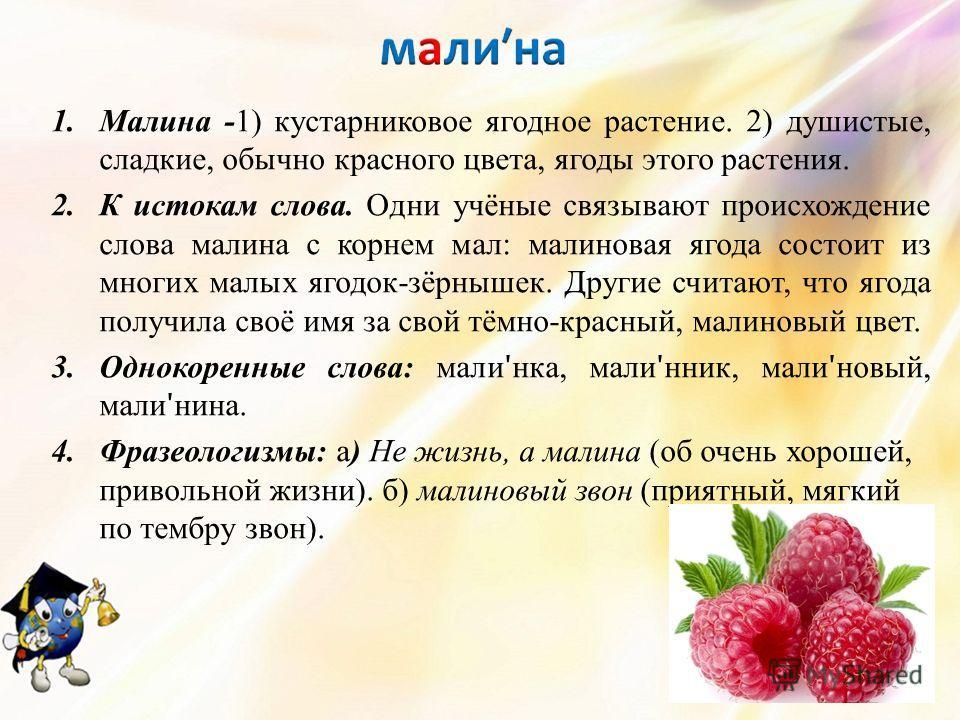 1. Малина -1) кустарниковое ягодное растение. 2) душистые, сладкие, обычно красного цвета, ягоды этого растения. 2. К истокам слова. Одни учёные связывают происхождение слова малина с корнем мал: малиновая ягода состоит из многих малых ягодок-зёрныше