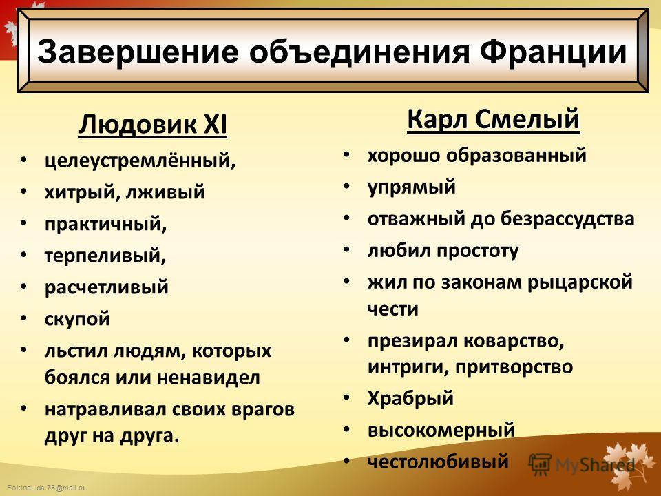 FokinaLida.75@mail.ru Людовик XI целеустремлённый, хитрый, лживый практичный, терпеливый, расчетливый скупой льстил людям, которых боялся или ненавидел натравливал своих врагов друг на друга. Карл Смелый хорошо образованный упрямый отважный до безрас