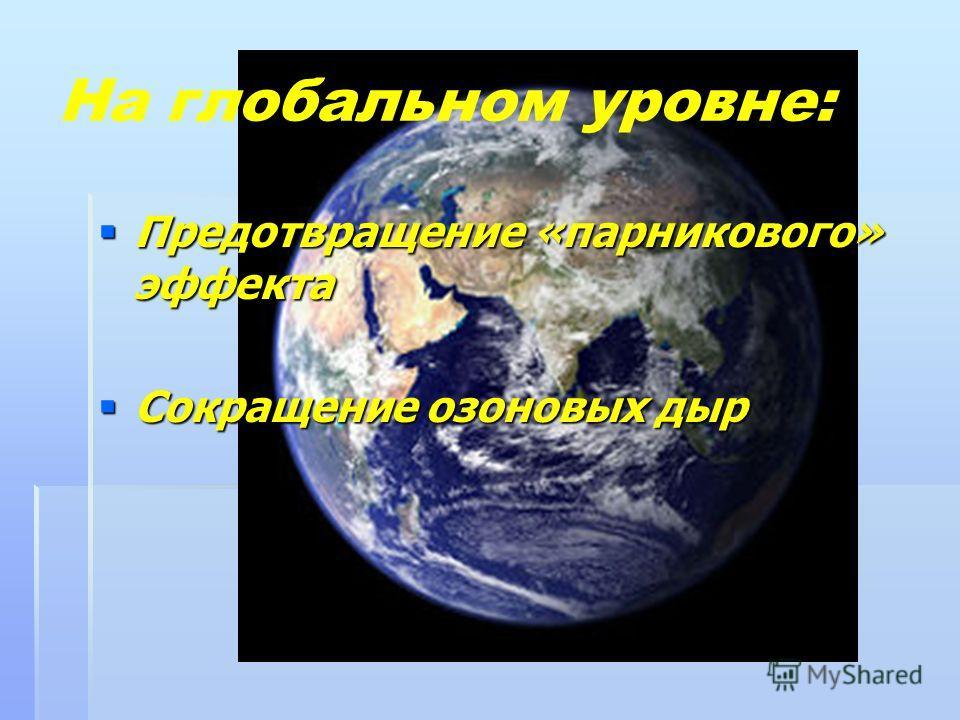 На глобальном уровне: Предотвращение «парникового» эффекта Сокращение озоновых дыр