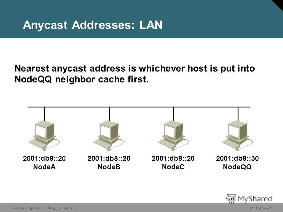 © 2006 Cisco Systems, Inc. All rights reserved.IP6FD v2.02-21 Anycast Addresses: LAN Nearest anycast address is whichever host is put into NodeQQ neighbor cache first. 2001:db8::20 NodeA 2001:db8::20 NodeB 2001:db8::20 NodeC 2001:db8::30 NodeQQ