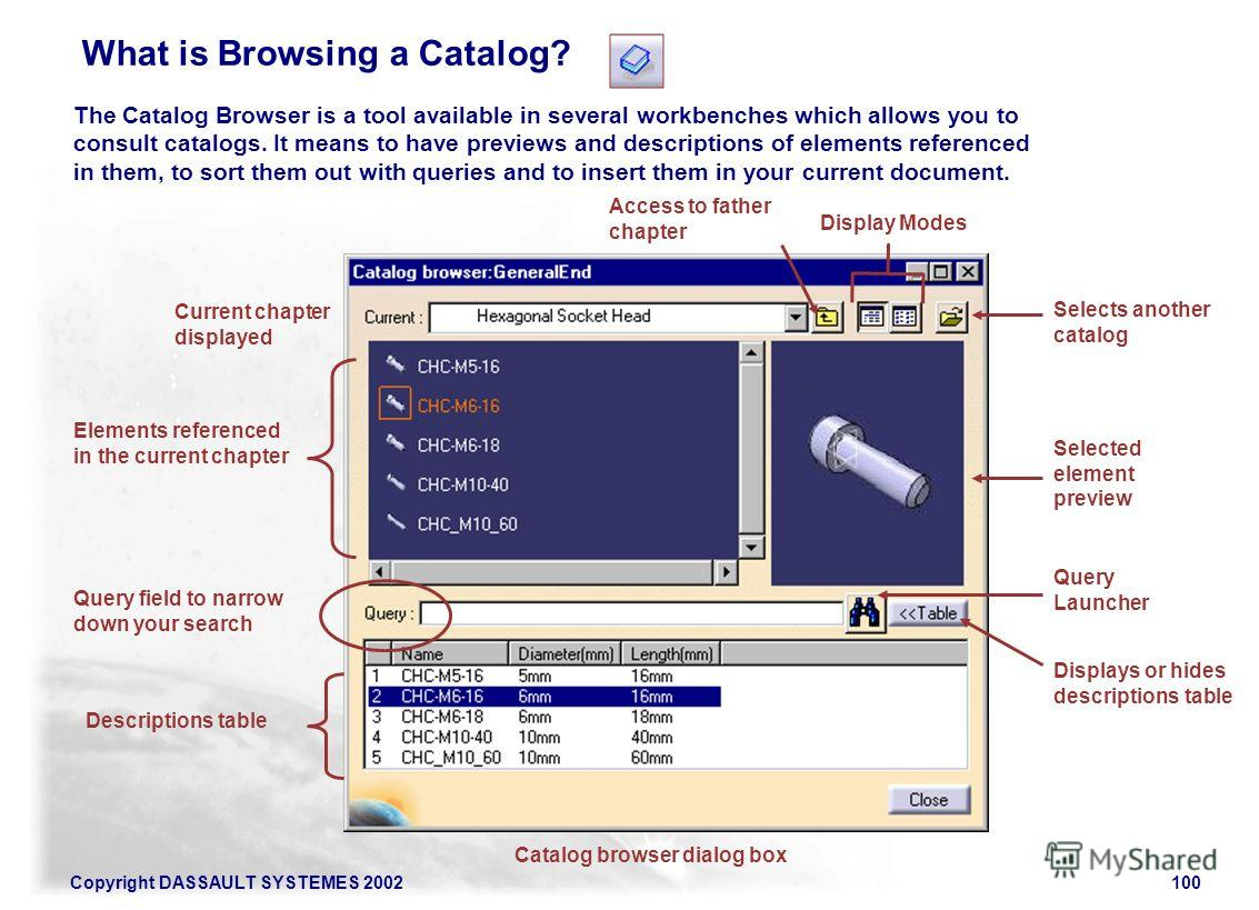Copyright DASSAULT SYSTEMES 2002100 The Catalog Browser is a tool available in several workbenches which allows you to consult catalogs. It means to have previews and descriptions of elements referenced in them, to sort them out with queries and to i