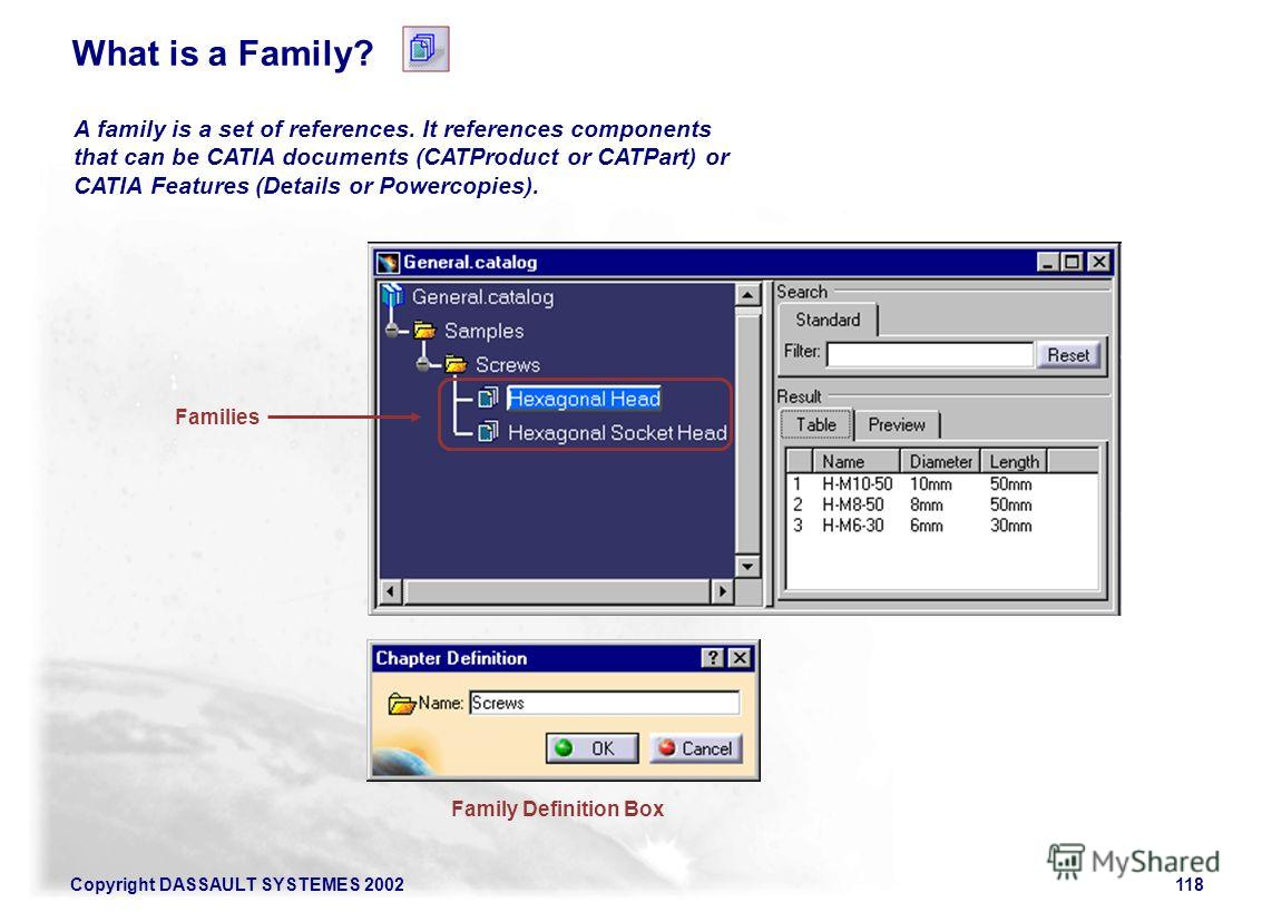 Copyright DASSAULT SYSTEMES 2002118 A family is a set of references. It references components that can be CATIA documents (CATProduct or CATPart) or CATIA Features (Details or Powercopies). Family Definition Box Families What is a Family?
