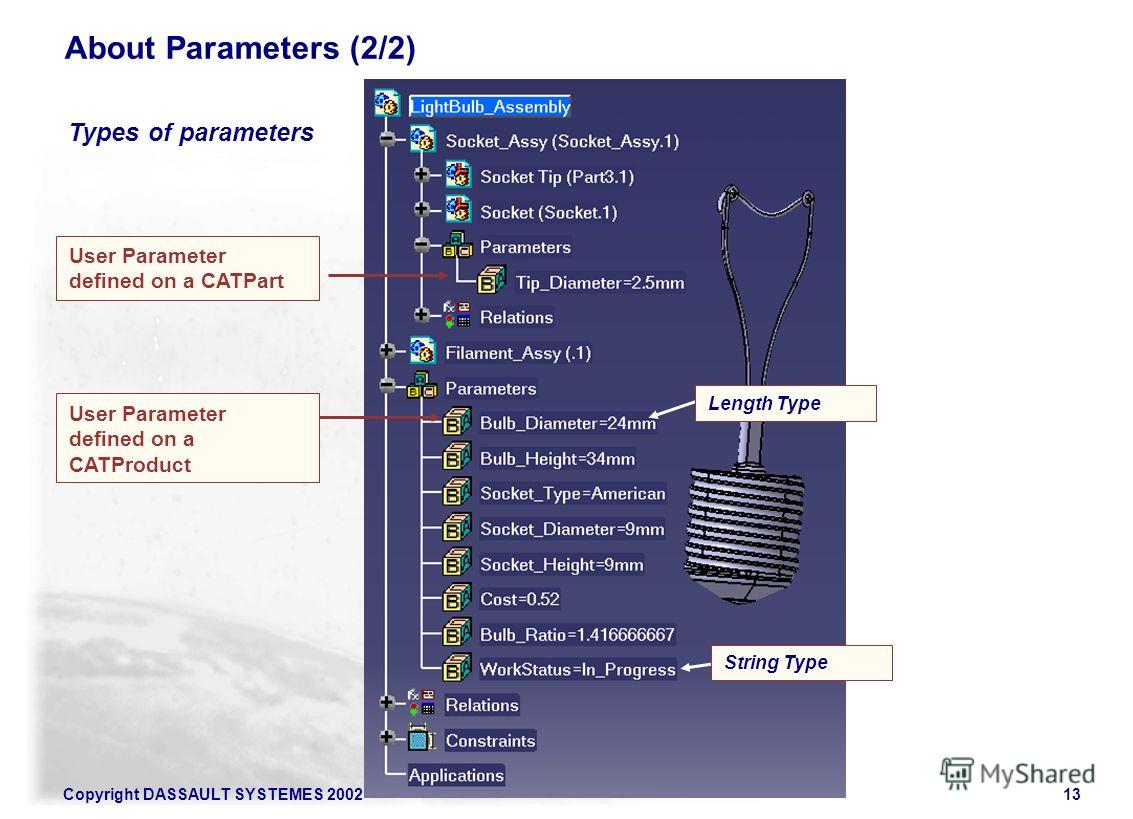 Copyright DASSAULT SYSTEMES 200213 Types of parameters About Parameters (2/2) Length Type User Parameter defined on a CATProduct User Parameter defined on a CATPart String Type
